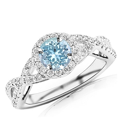 - 1.18 Carat t.w 14K White Gold Twisting Split Shank Eternity Love Halo Style Diamond Engagement Ring w/a 0.75 Carat Round Cut Blue Aquamarine Heirloom Quality