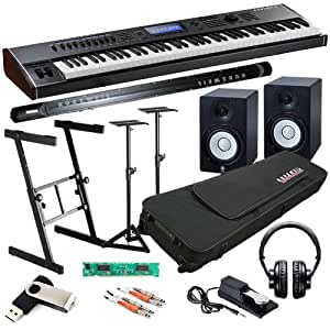 kurzweil pc3k7 keyboard studio bundle w monitor speakers stands musical instruments