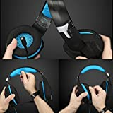 KOTION EACH G1000, 3.5mm PC Stereo Gaming Headset with in-line Mic, Integrated Microphone, Over-ear fit with Noise isolation, Integrated Breathing LED Light, For Laptops or Computers (Blue)