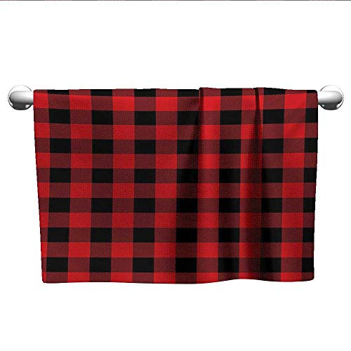 alisoso Plaid,Shower Towel Lumberjack Fashion Buffalo Style Checks Pattern Retro Style with Grid Composition Pool Gym Towels Scarlet Black W 14