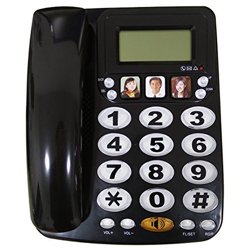 HePesTer P-29B Big button Picture Phone for Elderly Works in Power Outage for Emergency(Black) (Big Button Picture Phone)