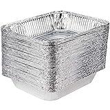 [100 Pack] 9 x 13 Aluminum Pans Half Size Deep Steam Table Pans Disposable Aluminum Pans Chafing Dish Aluminum foil Baking Pans Bulk