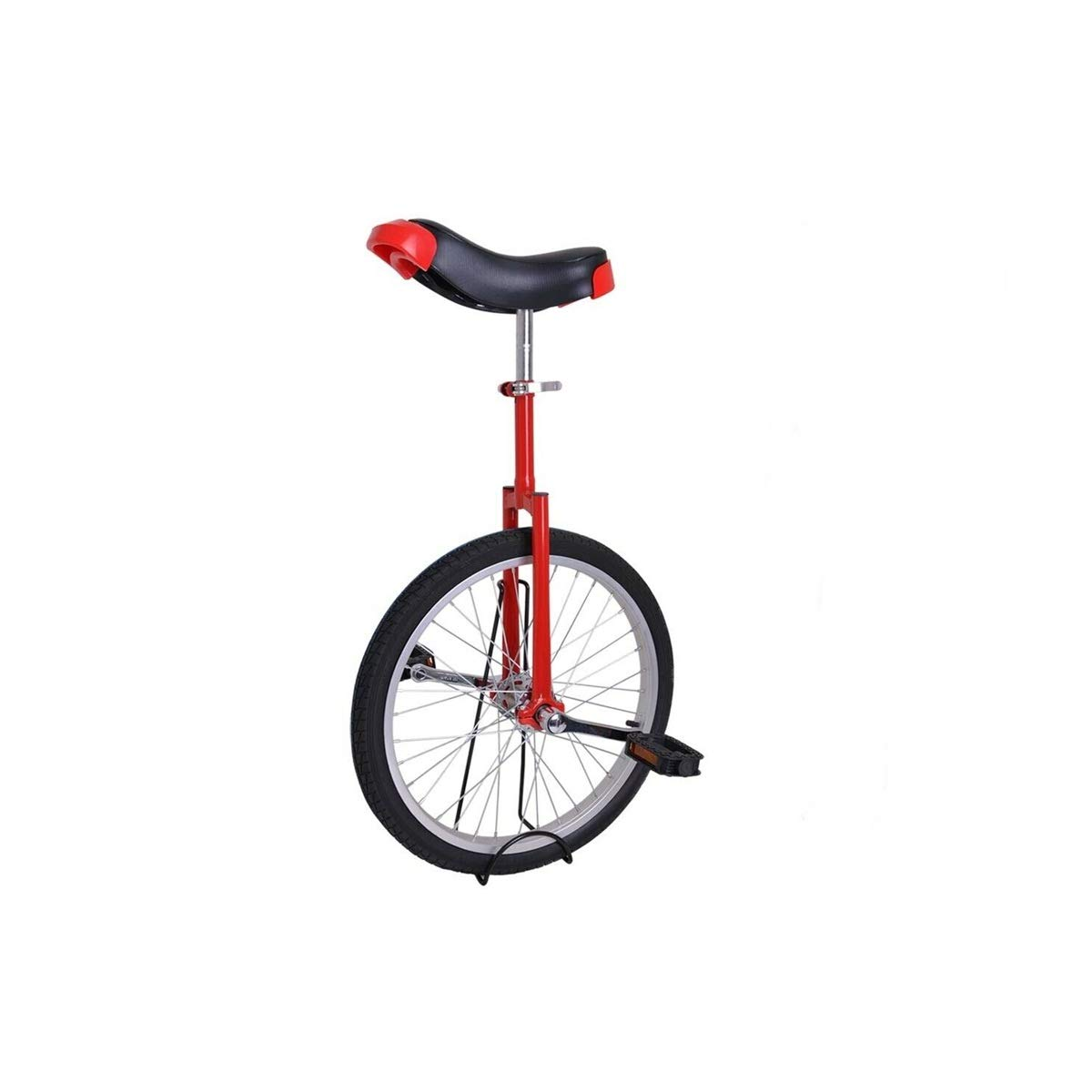 FDInspiration Red 20'' Wheel Cycling Scooter Circus Unicycle Bike Skidproof Tire Balance Exercise Large Saddle with Ebook
