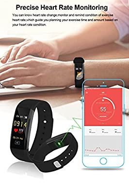 Fitness Tracker Watch, Heart Rate Monitor with Color Screen Waterproof Smart Bracelet, Blood Pressure Monitor/Sports/Steps Counter/Sleep Monitor for Android and iOS