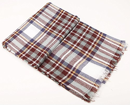 CHERRY CAT White Oversized Square Flannel Plaid Blanket Scarfs Womens Fringe Light Weight Wrap Shawl (White Mixed)