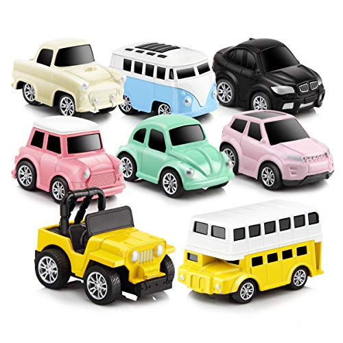 GEYIIE Pull Back Cars,8 Pack Mini Cars Set Alloy Micro Machines,Pull Back Vehicles Toy Cars for Toddlers Kids Boys Girls Gift