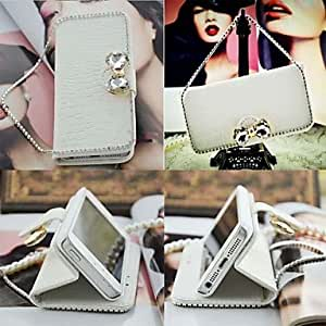 JAJAY Diamond Bow Chain Crocodile Stripe Leather Pattern Full Body Case with Card Slot for iPhone 5/5S