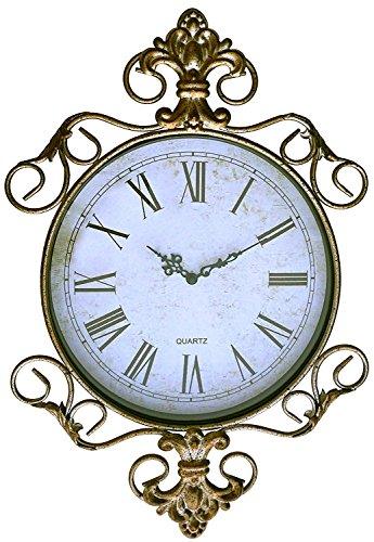 LuLu Decor, Antique Roman Metal Wall Clock in Fleur De Lis Design (LH170)