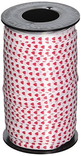 Berwick 1007213 Hearts Printed Curling Ribbon, 3/16-Inch Wide by 500-Yard Spool, Red ()