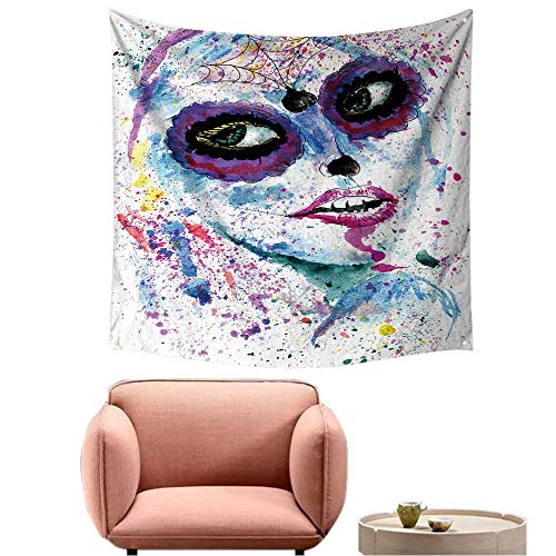 Dorm Room Tapestry Pretty Tapestry for Bedroom Halloween Girl with Sugar Skull Makeup,Watercolor Painting. -