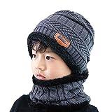 jiahongsheng Winter Knitted Hats Neck Warmer Scarf Set for Kids Boys Girls Unisex Skiing, Hiking, Jogging