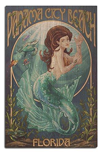 Panama City Beach, Florida - Mermaid (12x18 Wood Wall Sign, Wall Decor Ready to Hang) (Panama City Beach Decor Beach)