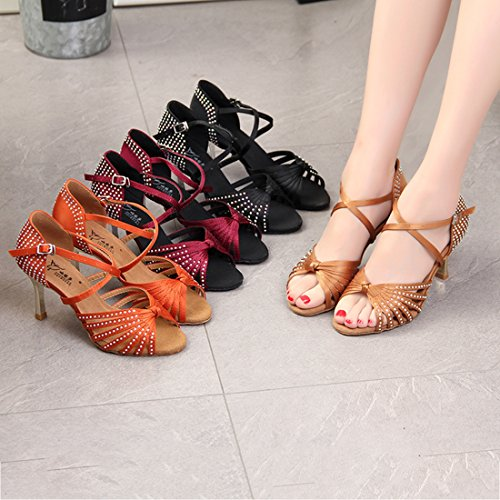 Satin Evening Fashion Crystals Sandals 5cm Beige 7 Heel Dance Standard Shoes Women's Knot Latin Miyoopark qRwBpB