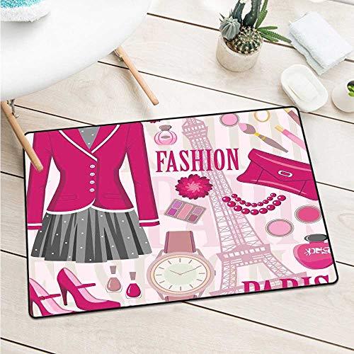 Custom&blanket Girls Welcome Door Mat Fashion Theme in Paris with Outfits Dress Watch Purse Perfume Parisienne Landmark Machine Washable Door Mat (W31.5 X L47.2 inch,Pink Biege)]()