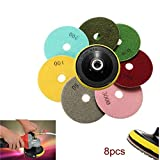 8pcs 100mm 4 Inch 50-3000 Grit Diamond Polishing Discs