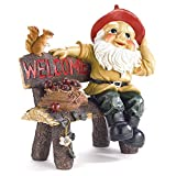 GHP 13 3/8″x9″x14″ Polyresin Garden Gnome on Bench Welcome Sign Yard Statue