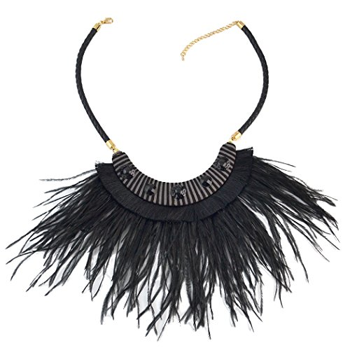 Idealway Bohemian Leather Chain Rhinestone Choker Necklace Pendant Feather Tassels for Women (Black)