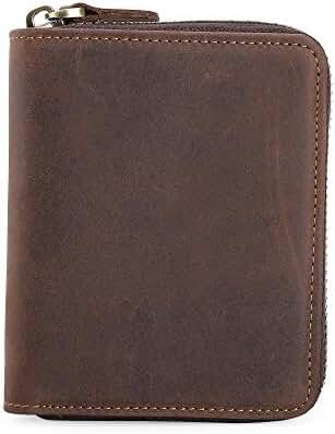 TIDING Men Leather Wallet Zipper Cowhide Purse Cash Coin Pouches Card Holder