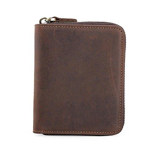 Zip Pouch Wallet (TIDING Men Leather Wallet Zipper Cowhide Purse Cash Coin Pouches Card Holder (Vertical Brown))
