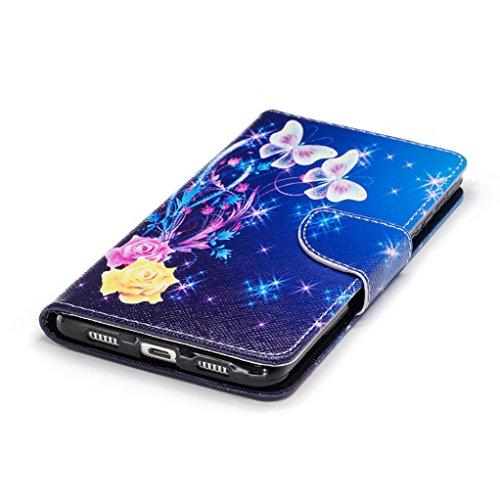 Trumpshop Smartphone Carcasa Funda Protección para Huawei Honor 6X + Lirio + PU Cuero Caja Protector Billetera con Cierre magnético [No compatible con Honor 6A y 6C] Mariposas blancas