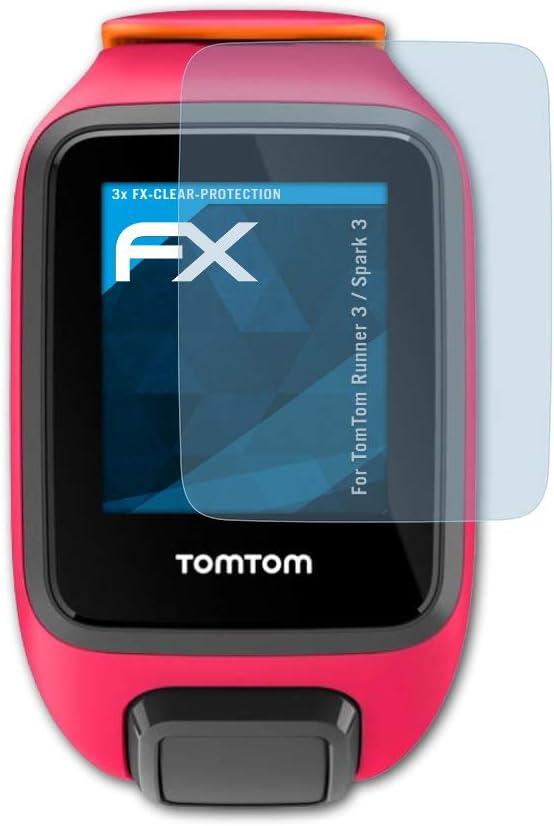 atFoliX Lámina Protectora de Pantalla Compatible con Tomtom Runner 3 / Spark 3 Película Protectora, Ultra Transparente FX Lámina Protectora (3X)