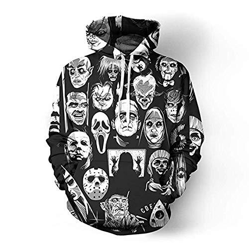 (maduang Hoodies 3D Digital Movie Horror Cartoon Couple Casual Sweatshirt for Men Women (2XL,)