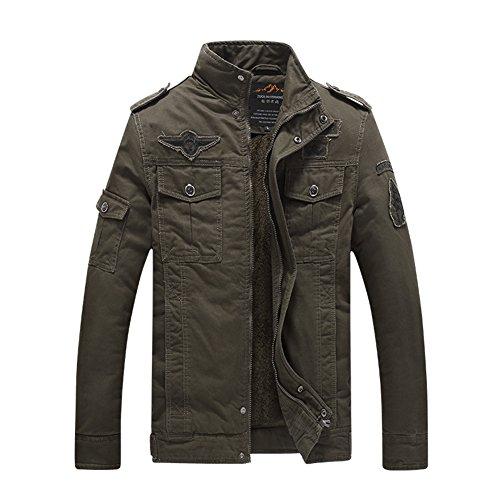 H.T.Niao Jacket8333C1 Men 's Military Fashion Plus Velvet Cold Jackets(Army Green,Size (Devil Coatume)