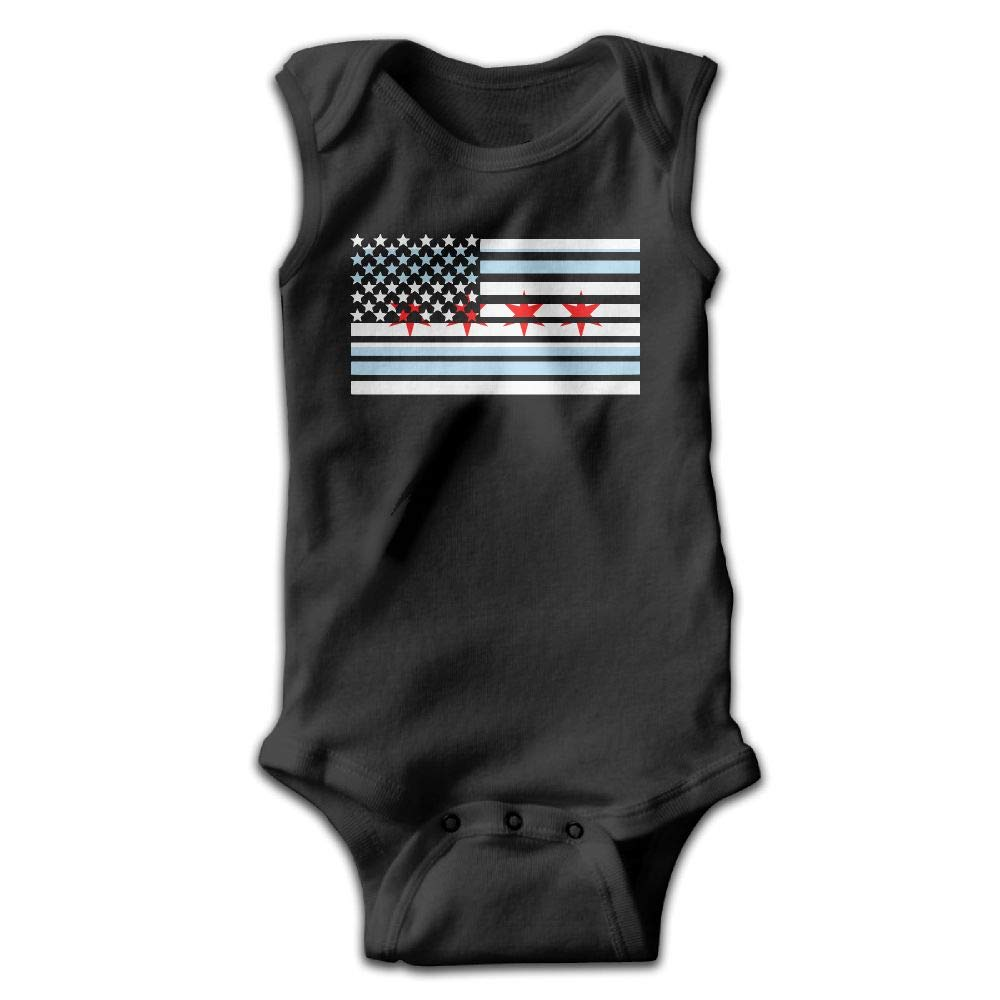 MMSSsJQ6 American Chicago Flag Infant Baby Boys Girls Crawling Suit Sleeveless Rompers Romper Jumpsuit Black