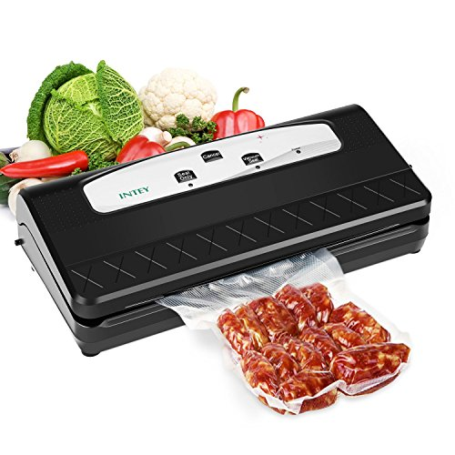 INTEY Vacuum Sealer Packing Machine, Multi-function Vacuum Sealing System with Cutter, Pumping and 5 Vacuum Sealer Bags for Food Sealer Dry&Moist, Black