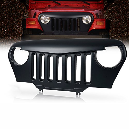 Xprite Front Matte Black Angry Bird Grille Grid Grill For 1997-2006 Jeep Wrangler TJ LJ