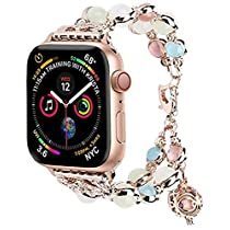Tomazon Luminous Band Compatible for Apple Watch Band Series 4/3/2/1, Glow Pearls & Perfume Storage 38mm/40mm/42mm/44mm Adjustable iWatch Bracelet Women Ladies Strap LoopWristbands Christmas Gift