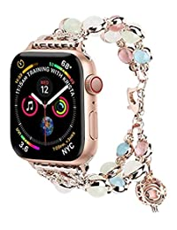 Tomazon Luminous Band Compatible for Apple Watch Band 42mm 44mm Series 4/3/2/1, Glow Pearls&Perfume Storage Adjustable iWatch Bracelet Women Ladies Strap Loop Wristbands Elegant Jewelry Gift-Rose Gold