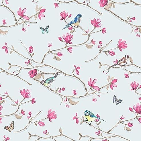 Holden Decor Tapete   Kira Vogel Schmetterling Blumen Motiv   Blau Rosa  98123