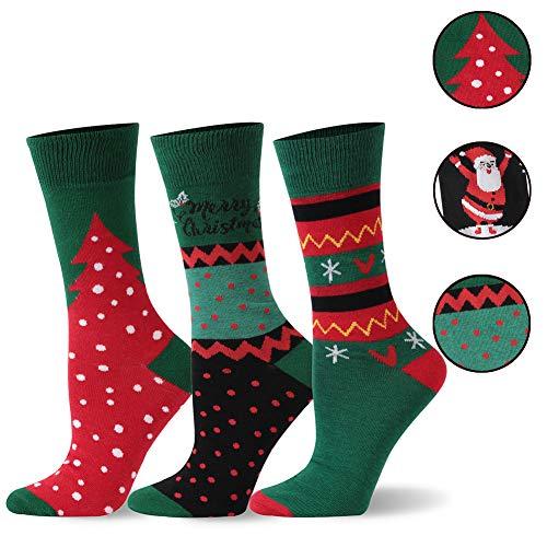 Womens Cute Fun Dress Holiday Socks, SHETOP Mens Novelty Winter Warm Funny Holiday Socks Colorful Crew Funny Socks Unisex Fun Socks Back to School Gifts for Kids 3 Pairs