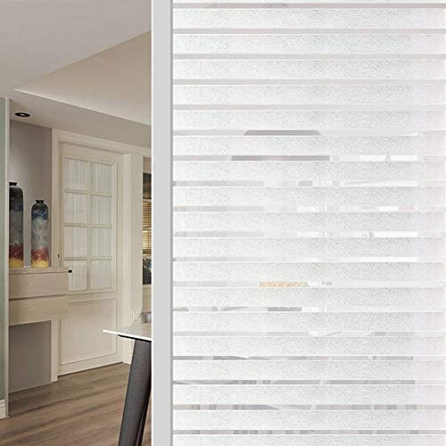 WochiTV Office Privacy Window Film, Stripes Privacy Window Film No Glue, Window Tint with Frosted Static Cling UV Protection, Window Sticker for Home Office Kitchen – 35.4 inch x 32.8 Feet