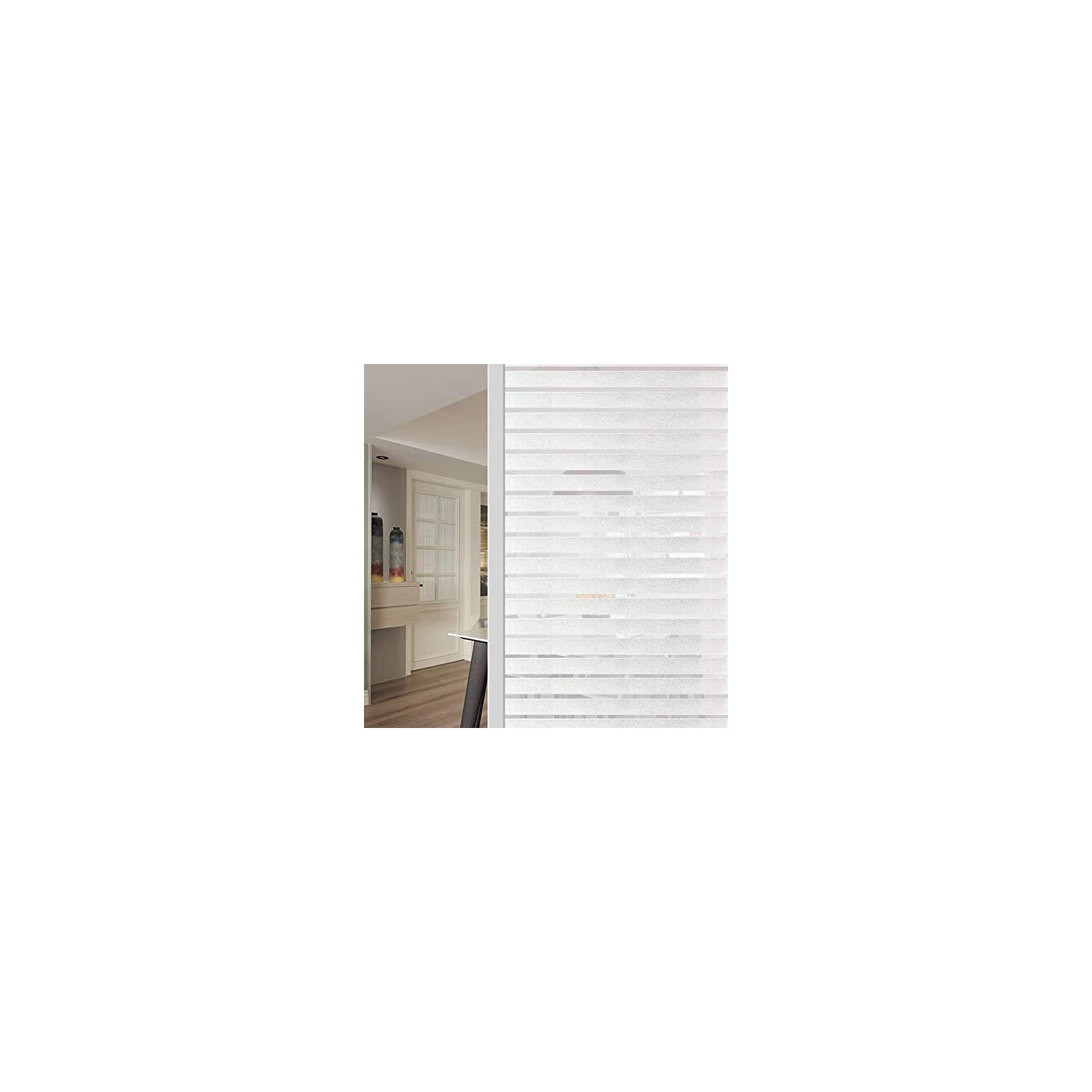 WochiTV Office Privacy Window Film, Stripes Privacy Window Film No Glue, Window Tint with Frosted Static Cling UV Protection, Window Sticker for Home Office Kitchen – 17.5 Inch x 6.56 Feet, Stripe