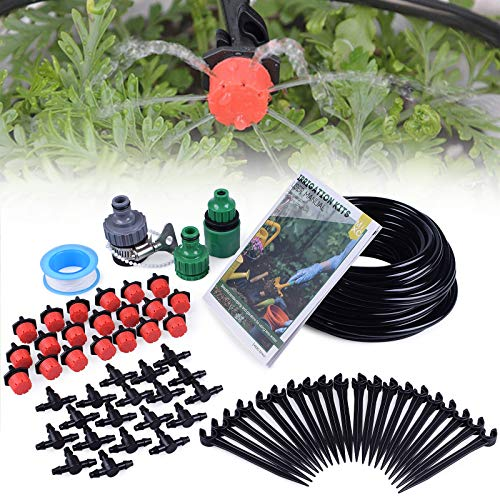 MIXC 1/4-inch Drip Irrigation Kits Plant Watering System Accessories Fitting with 50ft 1/4