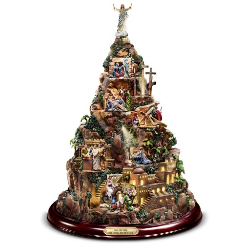 Thomas Kinkade Christian Tabletop Home Decor: Faith Mountain by The Bradford - Thomas Illuminated Tree Kinkade