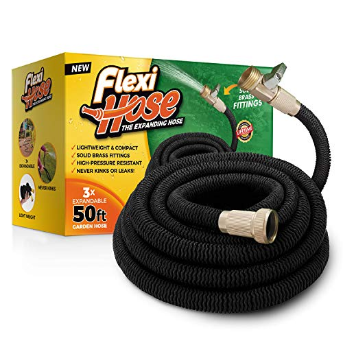 Flexi Hose Upgraded Expandable 50 FT Garden Hose, Extra Strength, 3/4' Solid Brass Fittings - The Ultimate No-Kink Flexible Water Hose (Black)
