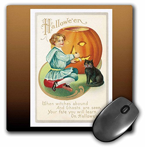 3dRose BLN Vintage Halloween - Vintage Halloween Little Boy Carving a Pumpkin with a Black Cat - MousePad (mp_126072_1) -