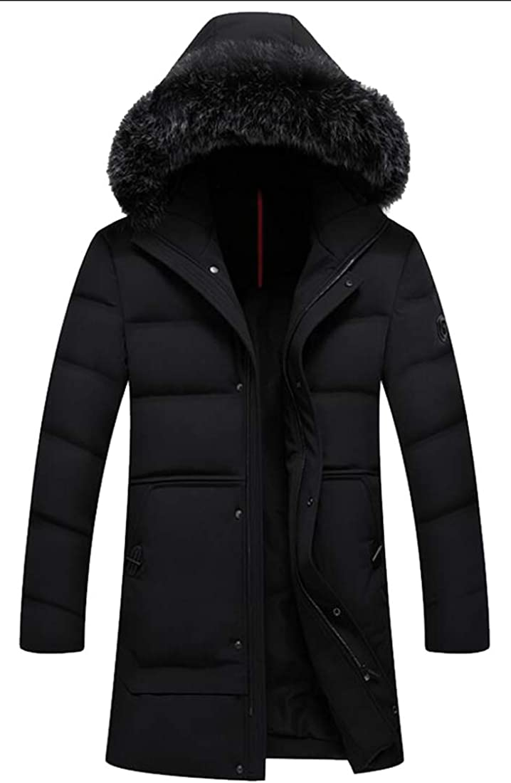 Generic Mens Winter Thicken Cotton Jacket with Fur Hood Puffer Jacket Down Overcoat