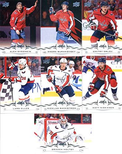 2018-19 Upper Deck Series 1 and 2 Hockey Complete Washington Capitals Team Set of 13 Cards: Nicklas Backstrom(#185), Matt Niskanen(#186), Braden Holtby(#187), Lars Eller(#188), Dmitry Orlov(#189), Andre Burakovsky(#190), Alexander Ovechkin(#191), Evgeny Kuznetsov(#437), John Carlson(#438), Tom Wilson(#439), T.J. Oshie(#440), Brett Connolly(#441), Michal Kempny(#442)