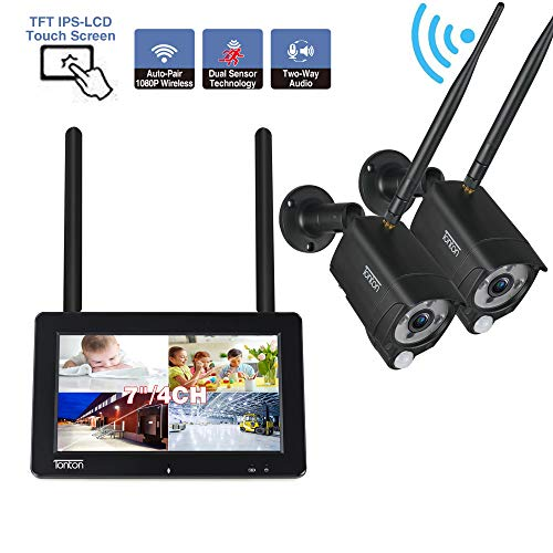 [2-Way Audio]Tonton 1080P Portable LCD Security Camera System Wireless, 4CH NVR Kit with 7