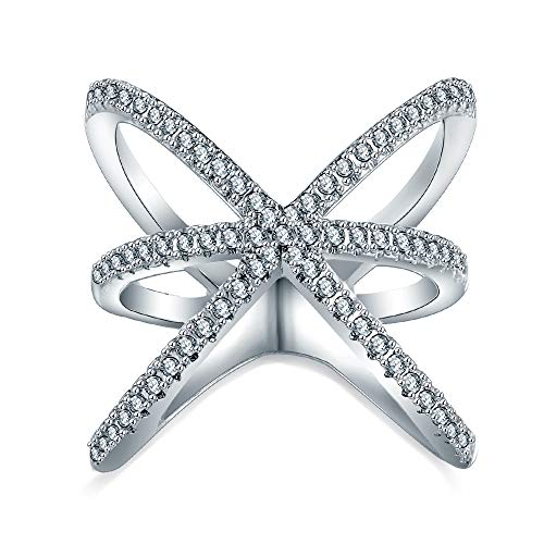 Benmani V Shaped Gold Plated Women's Statement Mid Finger Ring with CZ Stones (Crisscross Silver, 8) ()