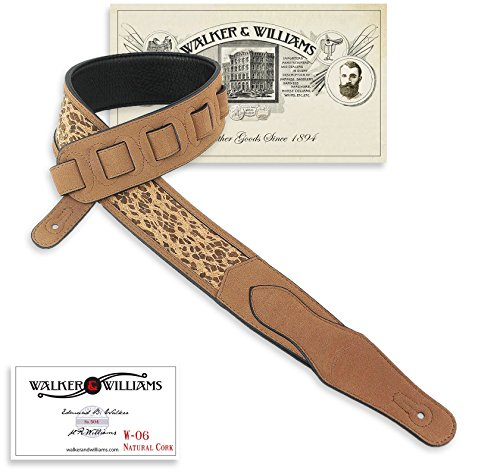 Walker & Williams W-06 Natural Leopard Skin Cork & Leather Guitar Strap