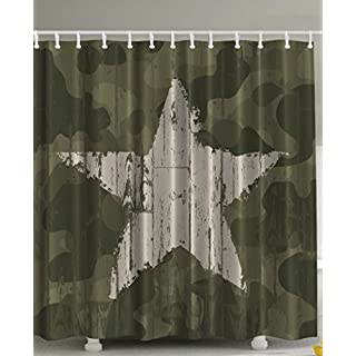 Ambesonne Western Khaki Camouflage Shower Curtain By, Southwestern Military  Print Patriotic Star Khaki Cream Digital