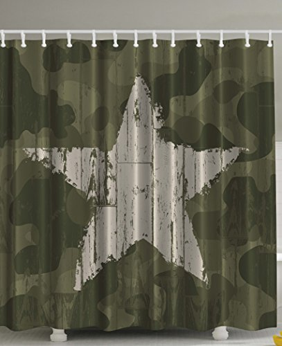 aki Camouflage Shower Curtain by, Southwestern Military Print Patriotic Star Khaki Cream Digital Print Primitive Man Cave Wall Western Decor Gifts for Men Husband Polyester Fabric (Southwestern Gift)