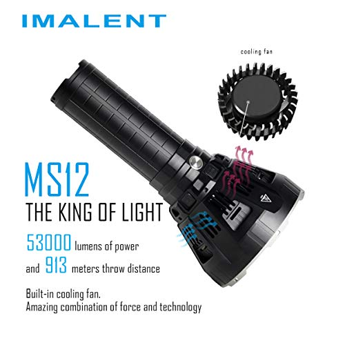 IMALENT MS12 Brightest Flashlight 53000 Lumens, Super Bright Rechargeable Torch Searchlight with 12 Pieces CREE XHP70 LEDs, Built in Cooling Fan, Long Beam Distance 913 Meters by IMALENT (Image #3)