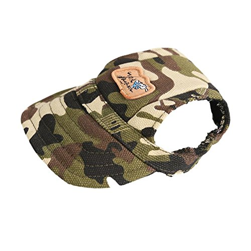 Easywin Pet Outdoor Accessories Elastic Chin Strap Doggy Puppy Dog Cat Visor Hat Sports Baseball Cap With Ear Holes Only for Small Dogs ( Camo, Size S ) - Puppy Cap