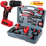 Hi-Spec 26 Piece Household Tool Kit Including 8V Cordless Drill Driver with 1300 mAh Li-Ion Rechargeable 16 Position Keyless Torque Clutch, Variable Speed Switch, Accessory Set & 25pc Hand Tools